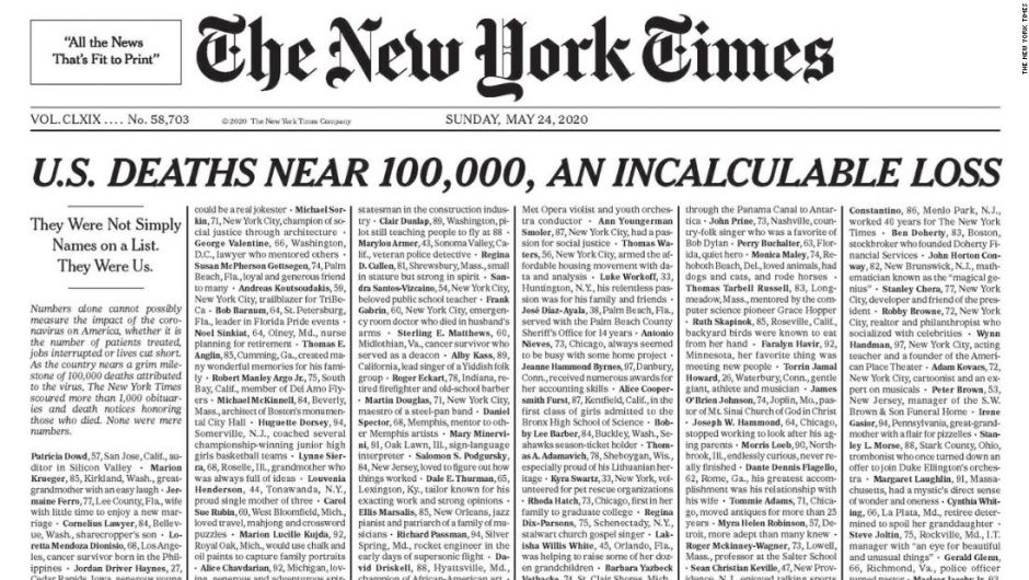 New York Times publishes edition with names of 1,000 coronavirus victims