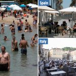 Bars, beaches and cafes packed as Europe eases coronavirus lockdowns after record-low deaths – The Sun