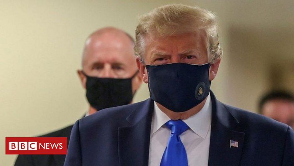 Coronavirus: Donald Trump finally wears mask in public