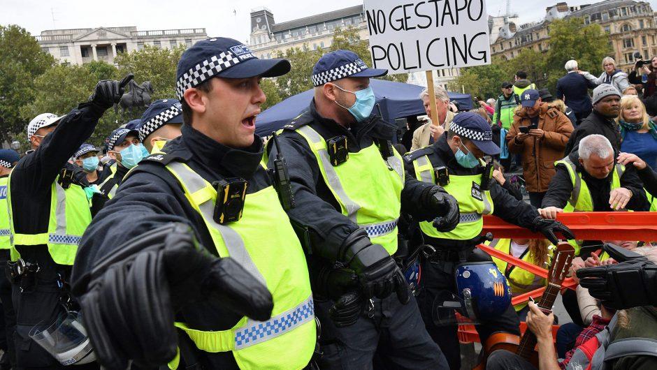 Coronavirus UK news live: Latest updates as 16 arrested at anti-lockdown rally