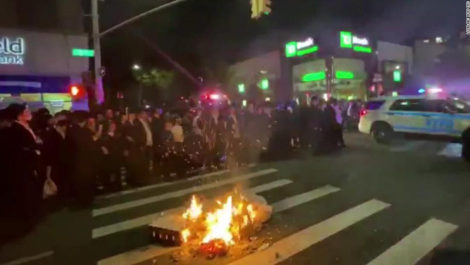 Orthodox Jews in Brooklyn set fires in protest of new Covid-19 shutdowns