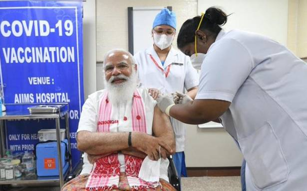 PM Modi takes first jab of COVAXIN against COVID-19