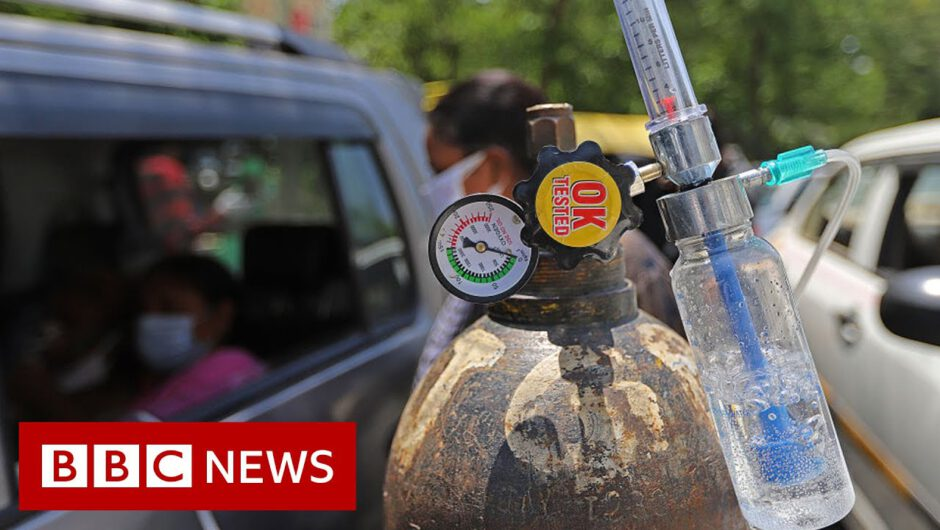 Indian temple offers drive-through oxygen amid Covid crisis – BBC News